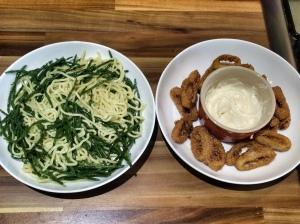 Calamari - serving with noodles