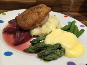 Roast duck breast with plum sauce
