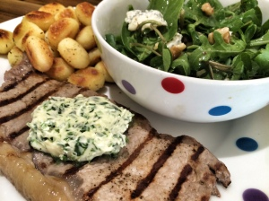 Steak with gnocchi and herb butter