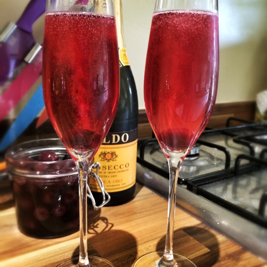 Cherry & thyme infused Prosecco