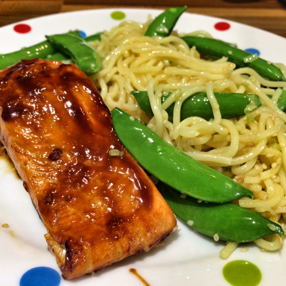 Salmon teriyaki served