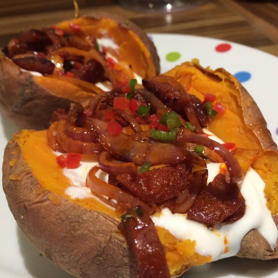Spicy baked sweet potato