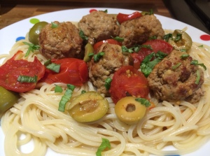 Summer spaghetti and meatballs