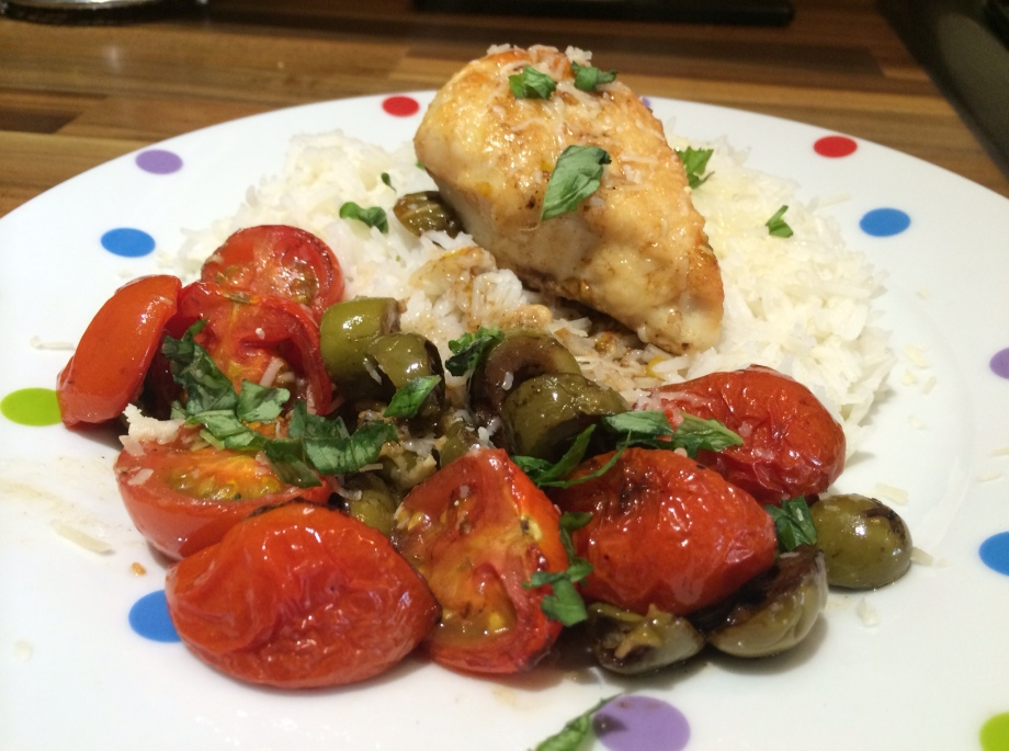 Roasted chicken with tomatoes and olives