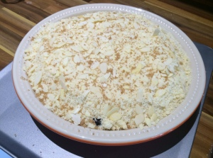 Crumble ready for the oven