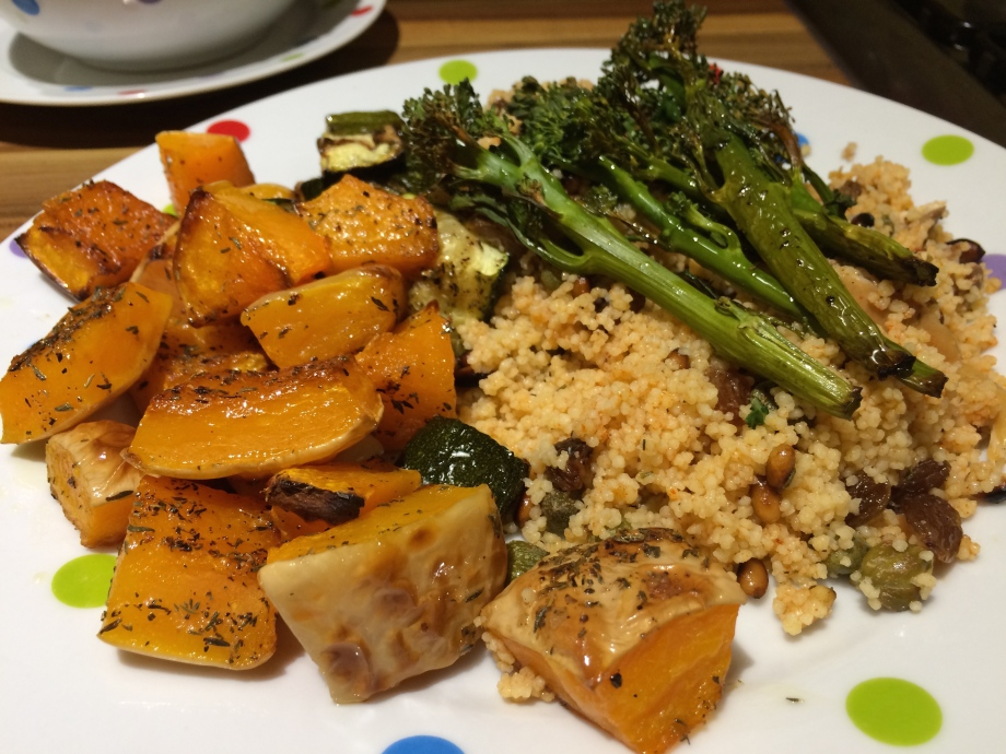 Roast butternut squash with mackerel couscous