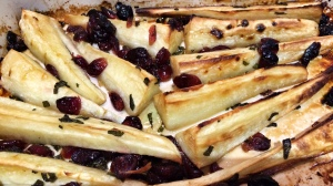 Maple, sage and cranberry roasted parsnips