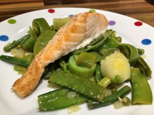 Salmon with spring vegetables