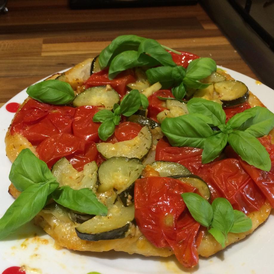 Tomato and courgette tarte tatin