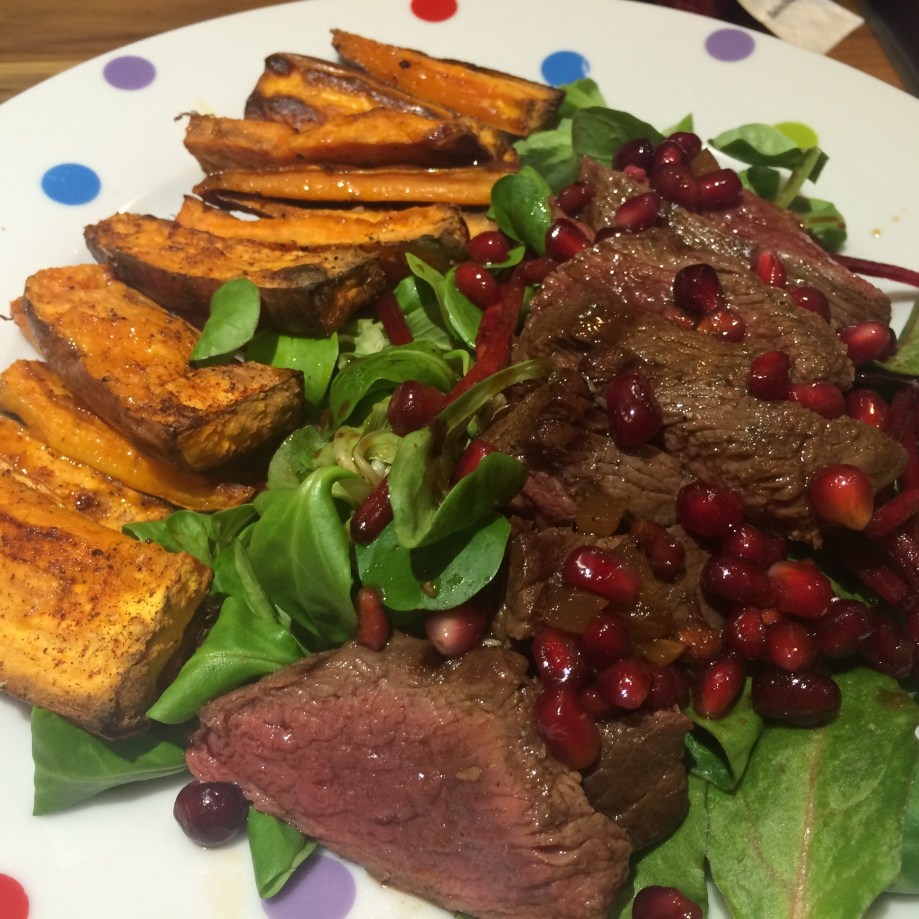 Venison with ginger and pomegranate marinade