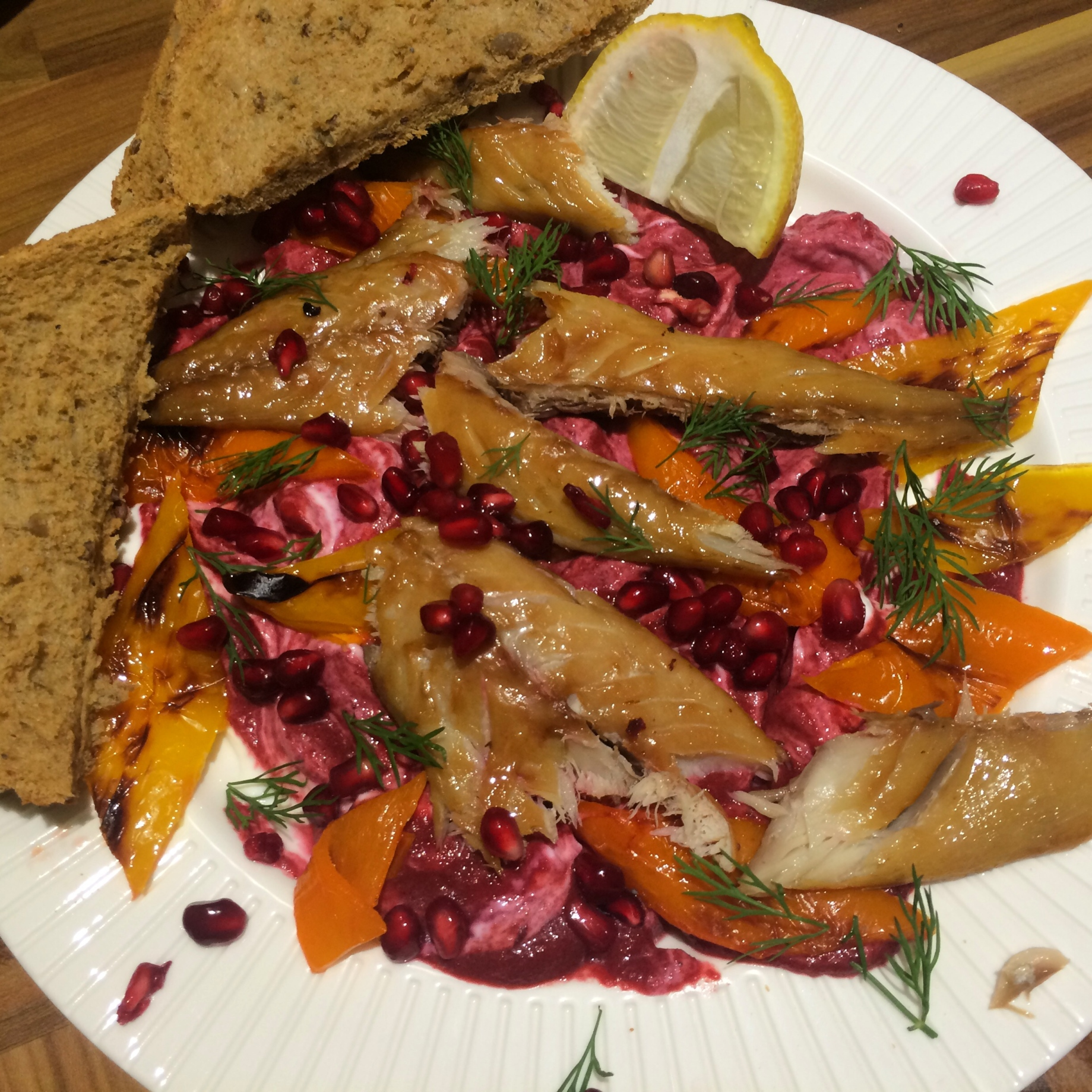 Beetroot and mackerel