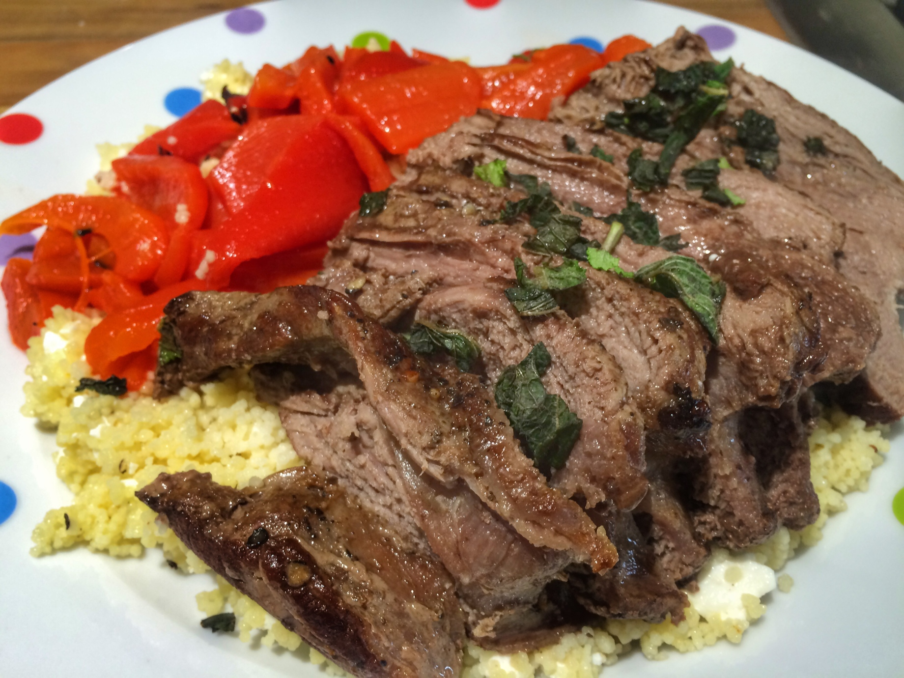 Steak with feta mint couscous