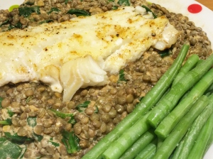 baked cod with curried lentils spinach