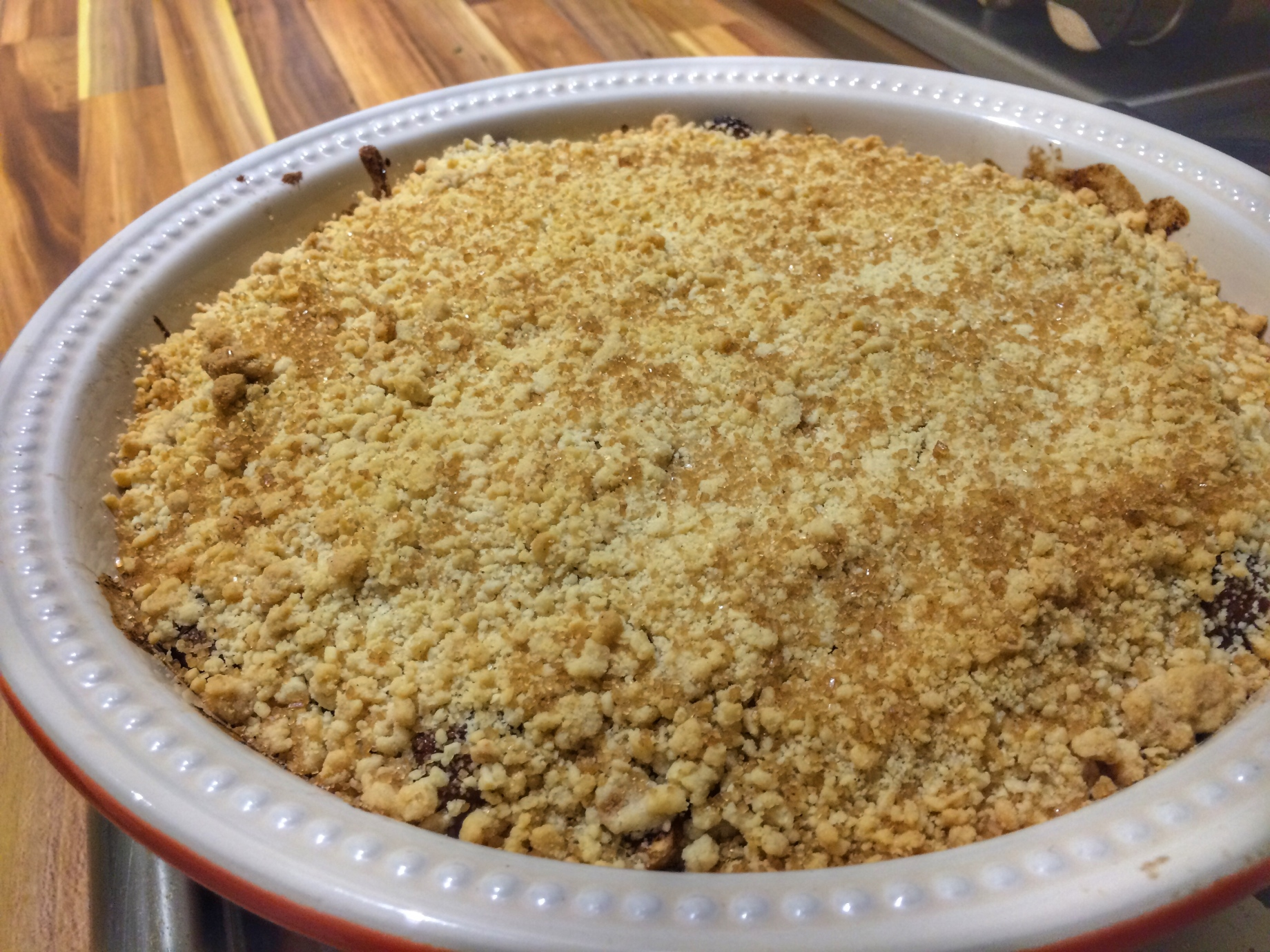 Spiced apricot and banana crumble recipe