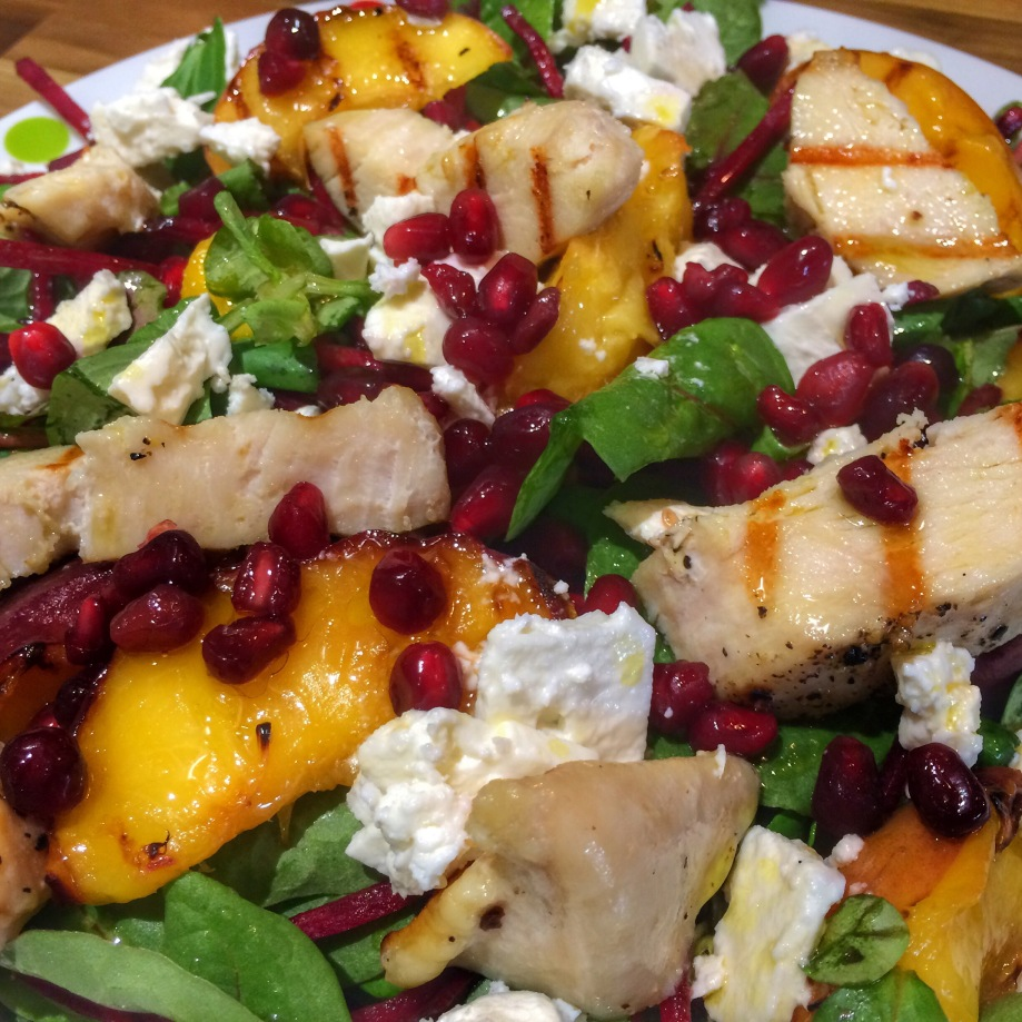 Griddled peach chicken feta salad
