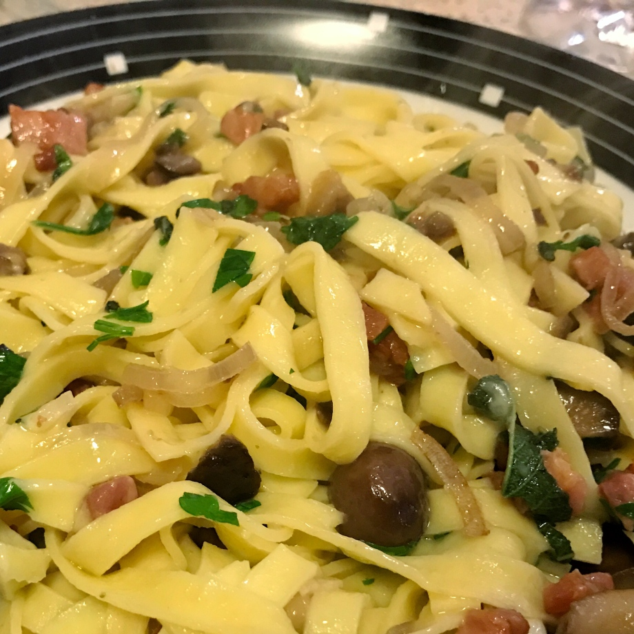 Tagliatelle pasta with chestnuts pancetta and sage Christmas