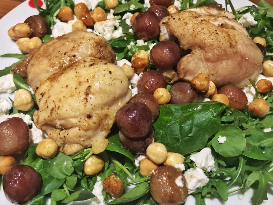 Roasted chicken, red grape and hazelnut salad