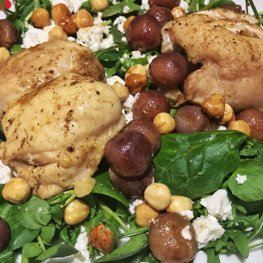 Roasted chicken, red grape and hazelnut salad